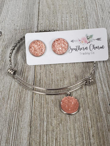 Flamingo Pink (salmon) Druzy Charm bracelet & matching earrings - My Wyo Designs
