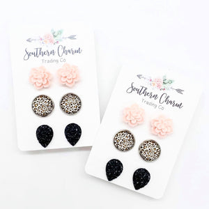 Pink succulent/leopard & Black ~triplet earrings