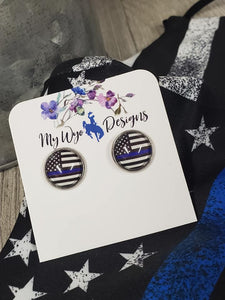 Blue Line Stainless Earrings - My Wyo Designs