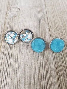 "Teal ""It's a Party"" confetti druzy Earrings"