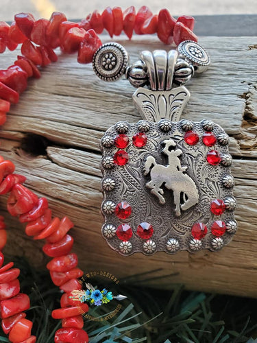 Bucking Horse & Rider Necklace Red Coral #40