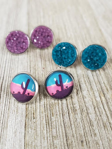 Plum/Turquoise/Desert Cactus~triplet earrings #341