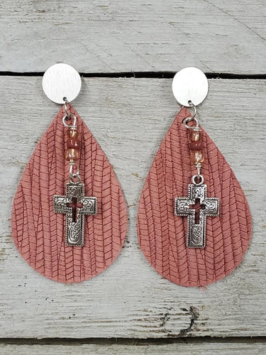 Covered with Palm Leather Cross earrings ~Dusty Rose~