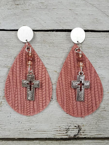 Covered with Palm Leather Cross earrings ~Dusty Rose~  #213