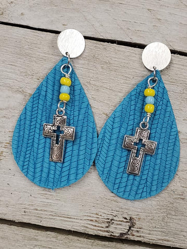 Covered with Palm Leather Cross earrings ~Turquoise ~