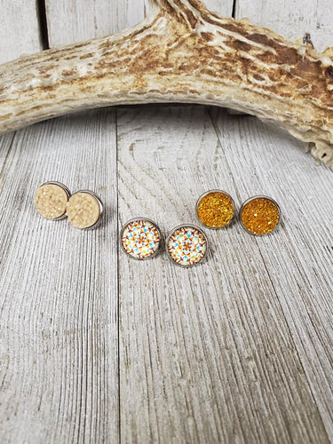 Mustard Sparkles & Kaleidoscope ~triplet earrings