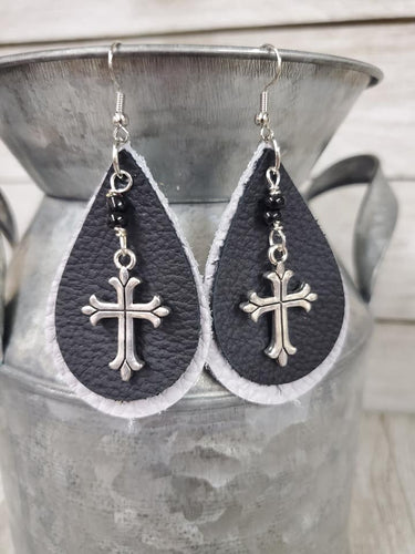 Cross Grey & Black Leather Earrings