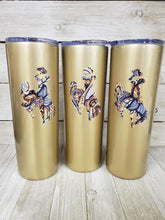 Skinny-Champagne Sparkle w/Natural Paisley Bucking Horse tumbler