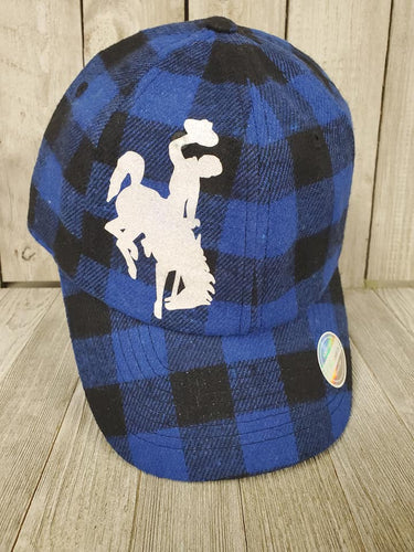 Buffalo Flannel Cap w/Bucking Horse ~Royal & Black~