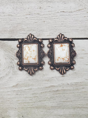 Victorian Scroll Trim Copper & Ivory earring #155