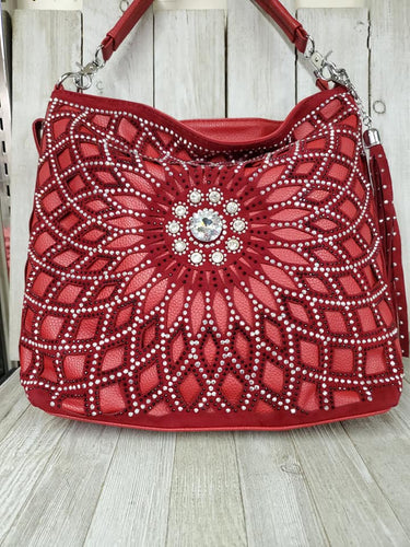 Red Floral Bling Tote Bag #144