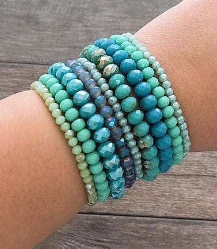 Bracelet ~Turquoise~ Stacked Cut Glass Beads #241