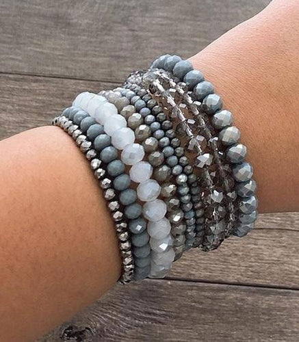 Bracelet ~Grey~ Stacked Cut Glass Beads#238