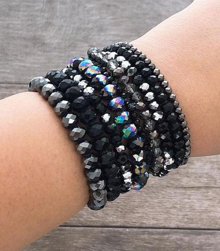 Bracelet ~Black~ Stacked Cut Glass Beads #235