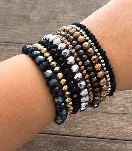 Bracelet ~Dark Multi~ Stacked Cut Glass Beads #236
