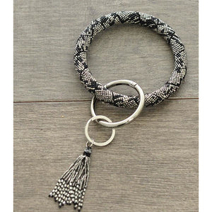 Snake Print Seed Bead Bangle Keychain - My Wyo Designs