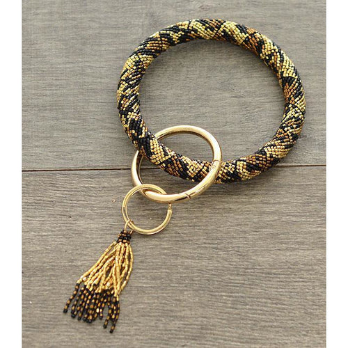 Cheetah Seed Bead Bangle Keychain - My Wyo Designs