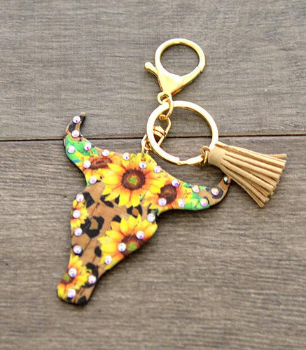 Sunflower Longhorn Keychain or Handbag Tassel - My Wyo Designs