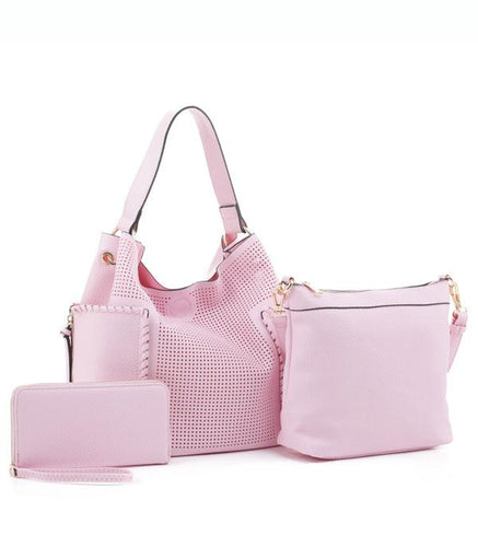 Pink 3 in 1 Lattice Handbag