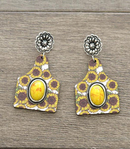 Sunflower & Yellow Howlite Wooden Calf Tag Earring~white~