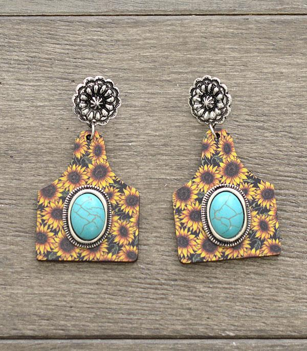 Sunflower & Turquoise Wooden Calf Tag Earring