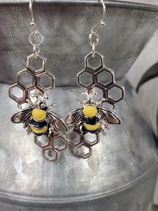 Honeycomb Bumble Bee earrings #424