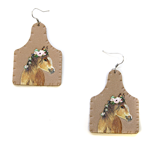 Horse Ear Tag leatherette Earrings - My Wyo Designs