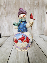 "Jim Shore ""Winter Cheer Happens Here"" Snowman with red cardinal - My Wyo Designs"