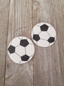 Leatherette Large Soccer Earrings #181