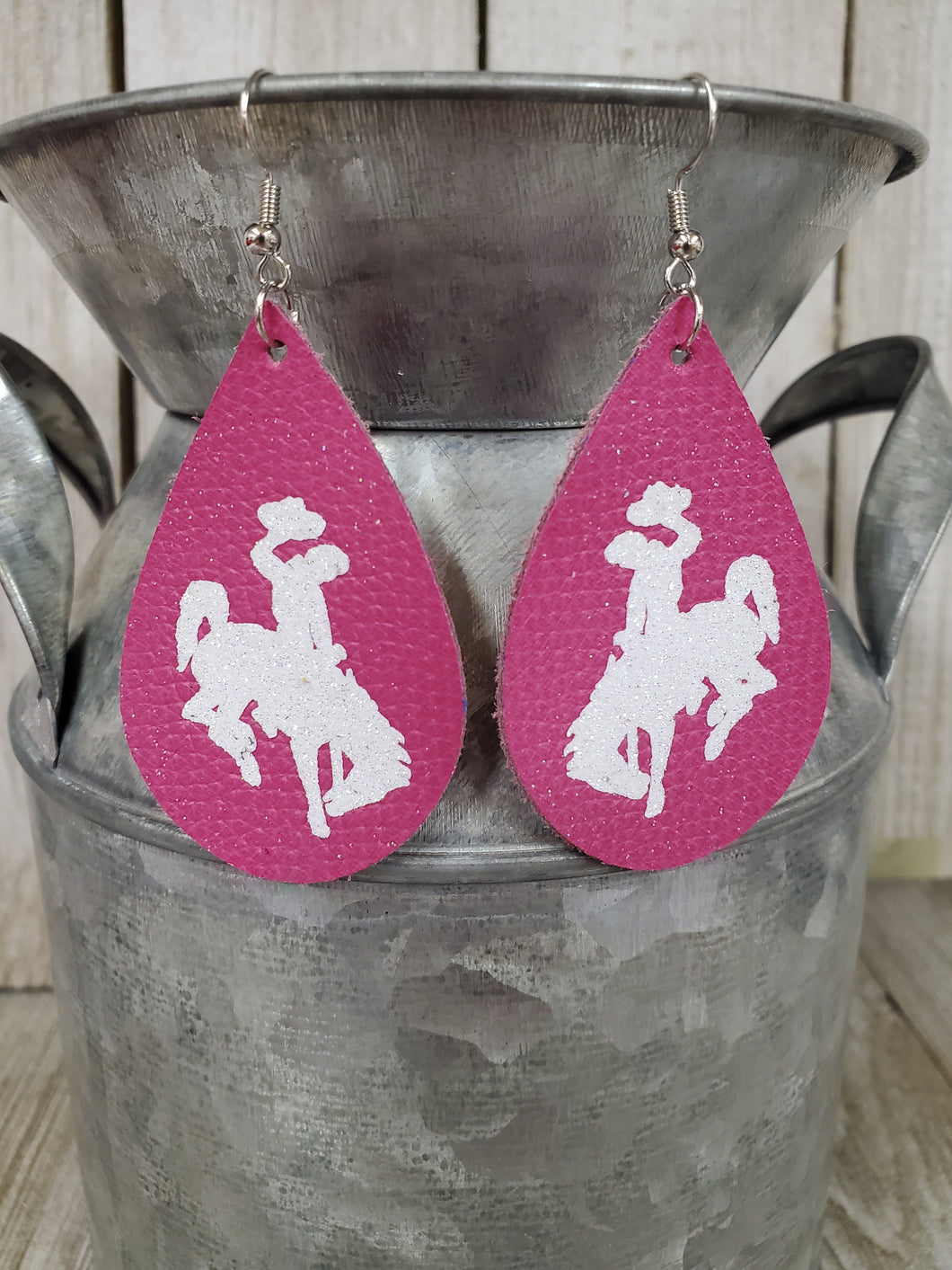 Steamboat Bucking Horse & Rider®️ Authentic Leather Earrings #287 Hot Pink/white