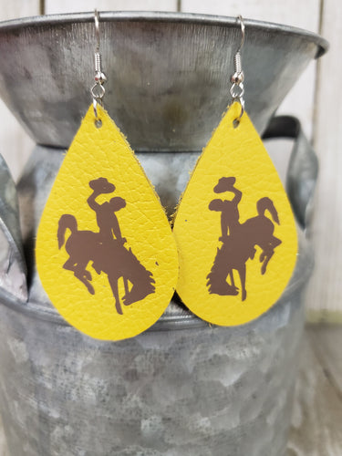 Steamboat Bucking Horse & Rider®️ Authentic Leather Earrings #304 UW Cowboys