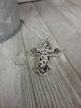 Abalone Scrolled Cross Necklace #398