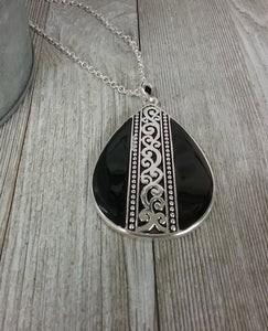 Black & Silver Scrolled Victorian Teardrop Necklace #401