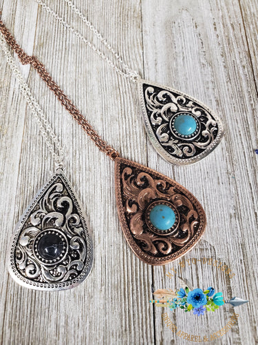 Southwestern Scrolled Drop Stone Necklace  ~more colors~