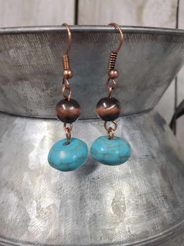 Navajo Pearl Inspired Earrings ~Copper/turquoise discs~