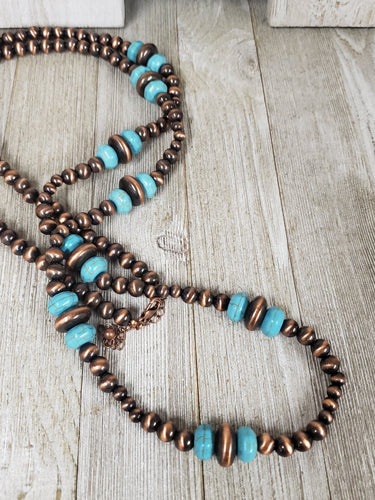 Southwestern Navajo Inspired Copper Necklace w/turquoise discs