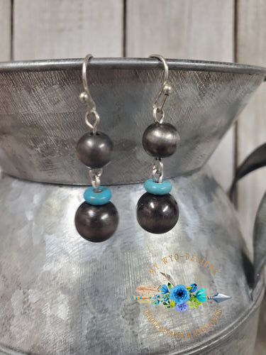 Navajo Pearl Inspired Earrings ~Silver/turquoise discs~