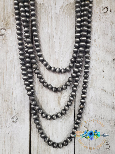 Silver Navajo Pearl inspired Graduated Necklace