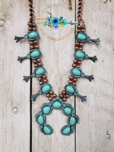 Copper Patina Squash Blossom Set