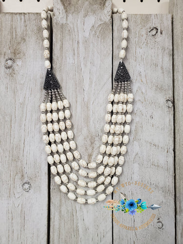 Oval Howlite Swag Necklace