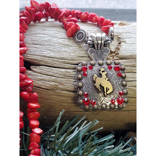 Bucking Horse & Rider Necklace Red Coral/gold #21 - My Wyo Designs
