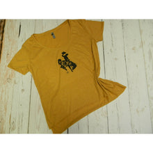 Wyo Gold Bucking Horse Festival Scoop Neck tee - My Wyo Designs