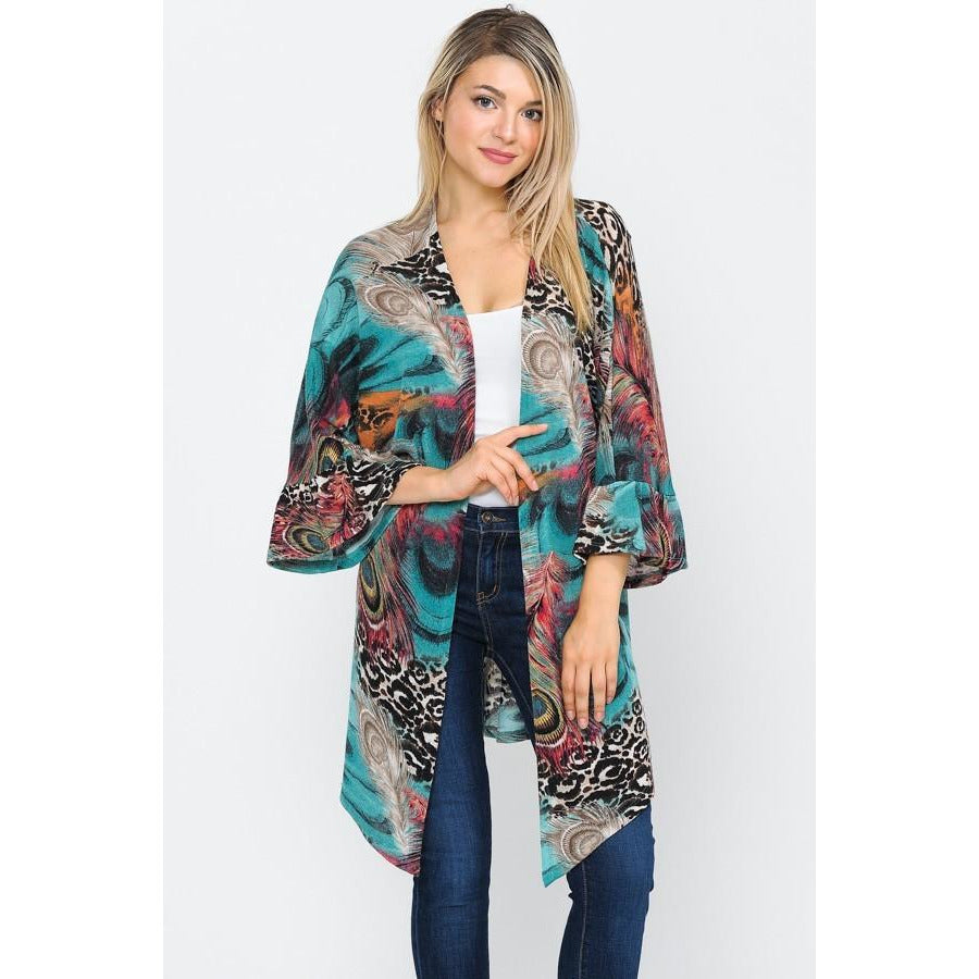Animal Print Teal Bell Sleeve Duster - My Wyo Designs