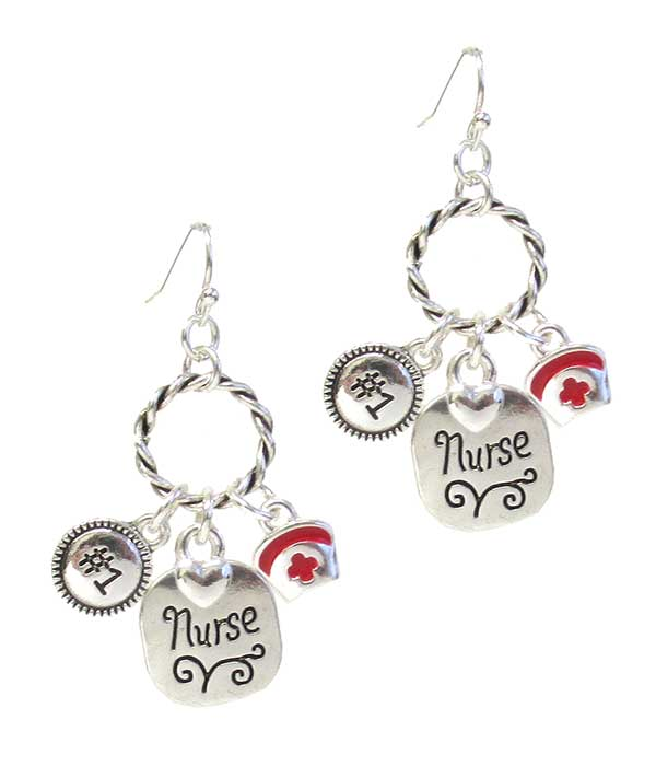 Nurse Charm Twisted Ring Earrings #421