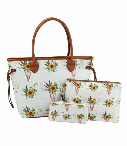 Sunflower & Skull 3pc Tote Set