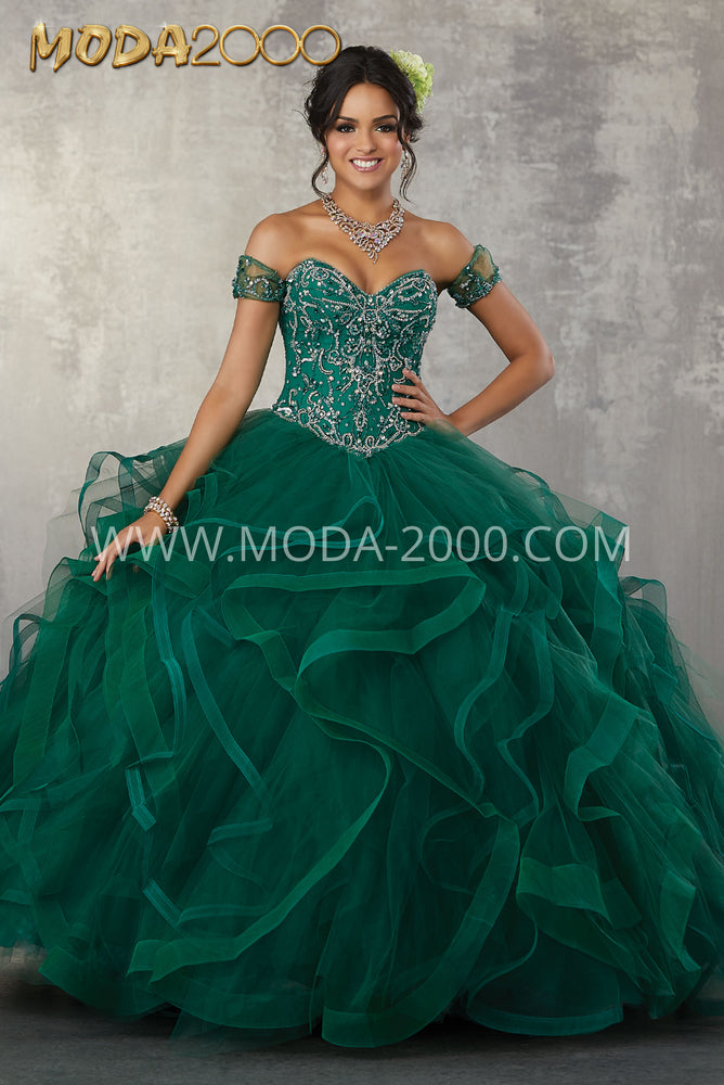 Rhinestone and Crystal Beaded Embroidery on a Flounced Tulle Ballgown. Quinceanera and Sweet Sixteen Dress.