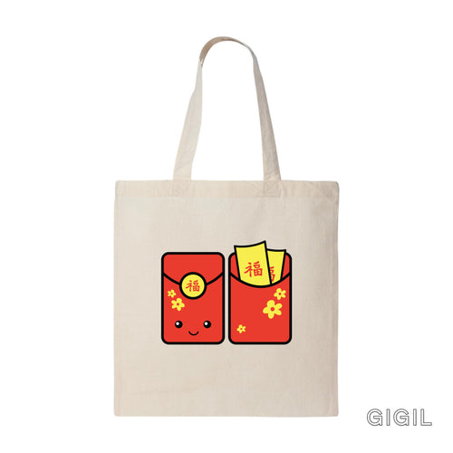 Gigil Red Pocket Tote Bag - Gigil Clothing