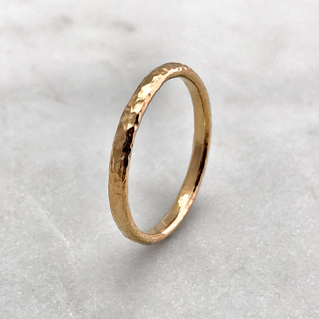 2.5mm Hammered 9ct Gold Band