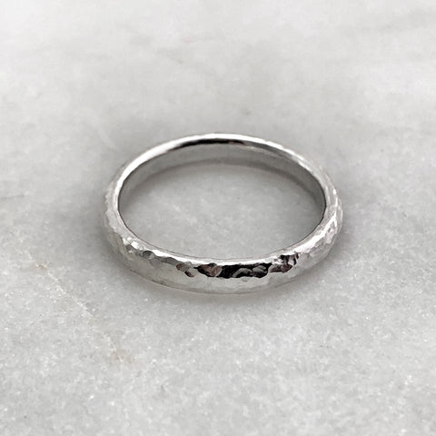 3.1mm Hammered Silver Band