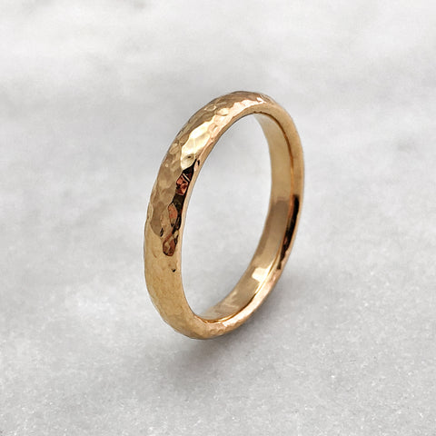3.1mm Hammered 9ct Gold Band